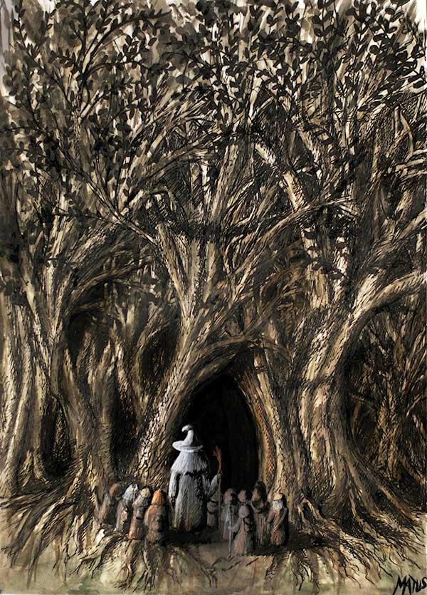 Illustration du livre Le Hobbit de Tolkien représentant Thorin et ses compagnons à l'orée de Grand-Peur
