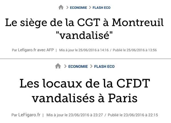 Titres d'articles sur le site du journal Le Figaro le 25 et le 26 juin 2016