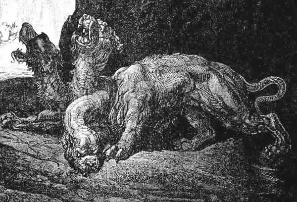Gravure de Gustave Doré intitulé Cerbère