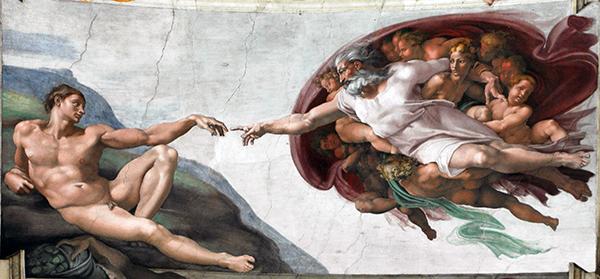 Michel-Ange, La Création d'Adam, 1508 − 1512