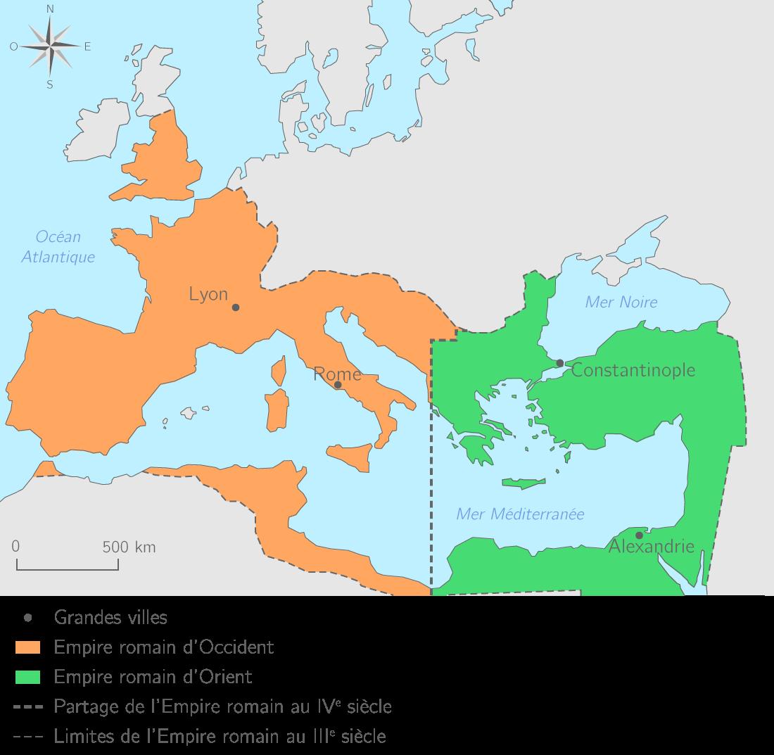 Le partage de l'Empire romain en 395