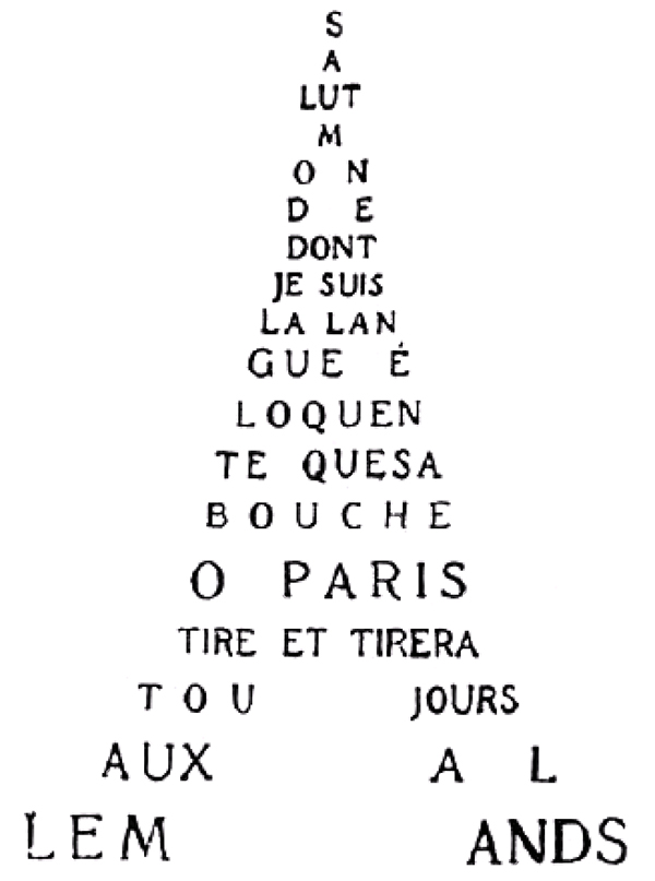 Calligrammes, Guillaume Apollinaire, 1918
