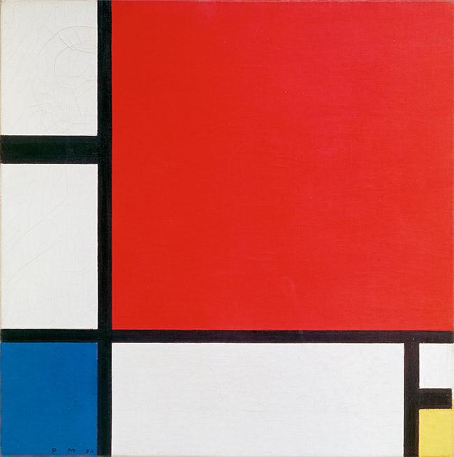 Mondrian, Composition II en rouge, bleu et jaune, 1930