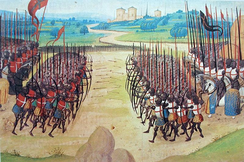 La bataille d'Azincourt (1415), miniature tirée de l'Abrégé de la Chronique d'Enguerrand de Monstrelet, XVe siècle