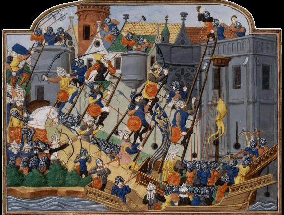Le siège et la prise de Constantinople en 1453, miniature extraite d'un manuscrit de la Chronique de Charles VII de Jean Chartier, XVe siècle