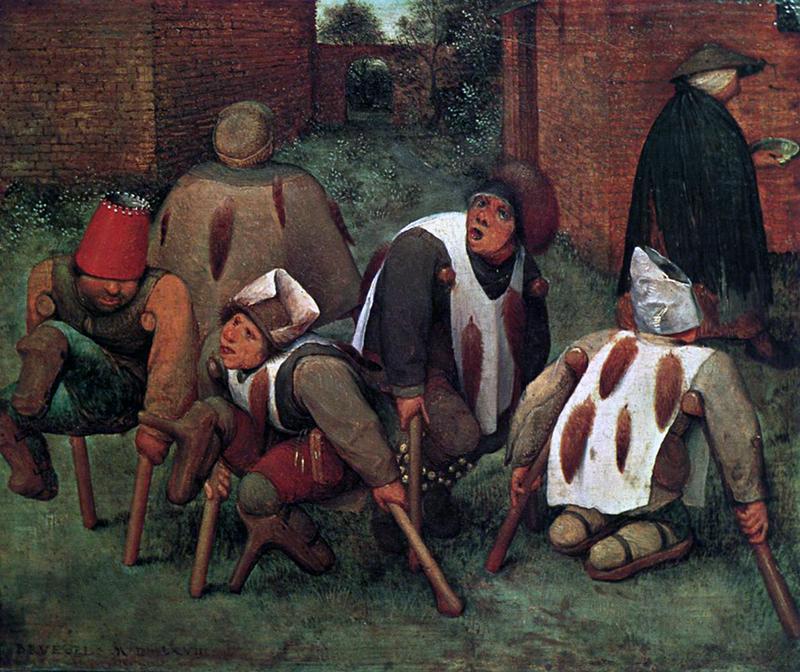 Les marginaux représentés par Bruegel l'Ancien dans son tableau intitulé La Cour des miracles (1568)