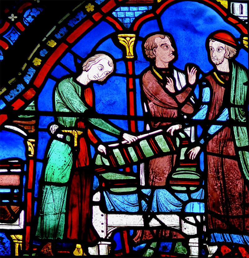 Détail d'un vitrail de la cathédrale de Chartres représentant des drapiers