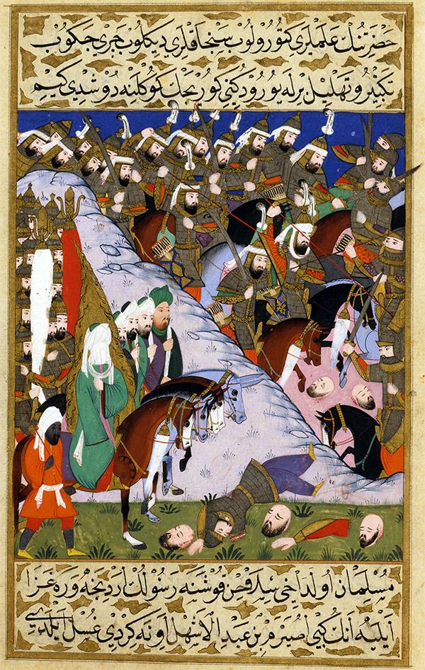 Muhammad et l'armée des musulmans lors de la bataille d'Uhud (représentation du XVIe siècle)