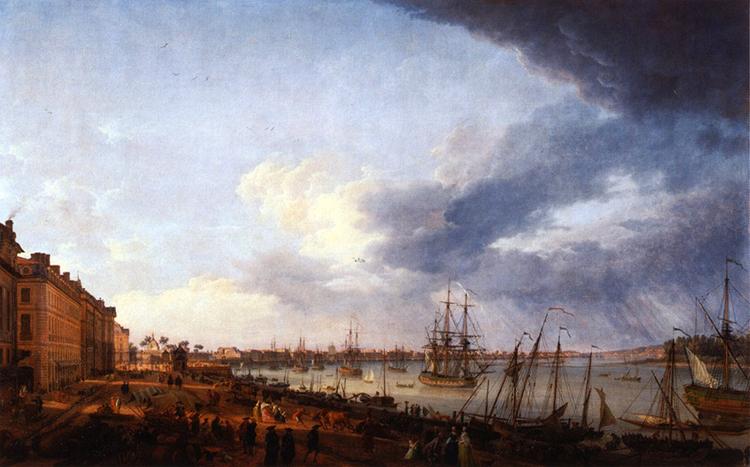 Joseph Vernet, Première vue du port de Bordeaux, prise du côté des Salinières, 1758, © Wikipédia.org