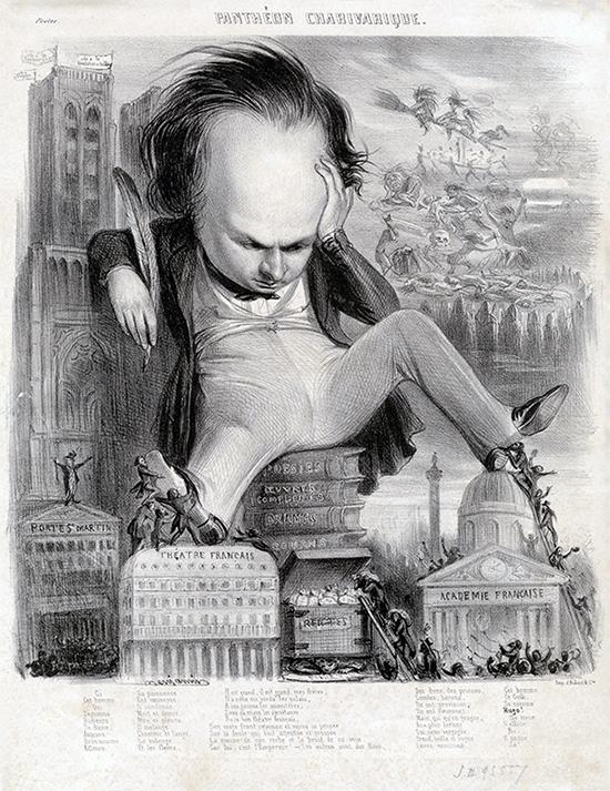 Benjamin Roubaud, Caricature de Victor Hugo, publiée dans le journal Le Charivari, 1841