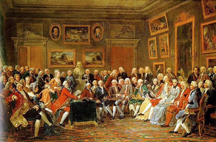 Anicet Charles Gabriel Lemonnier, Une soirée chez Madame Geoffrin, 1812.