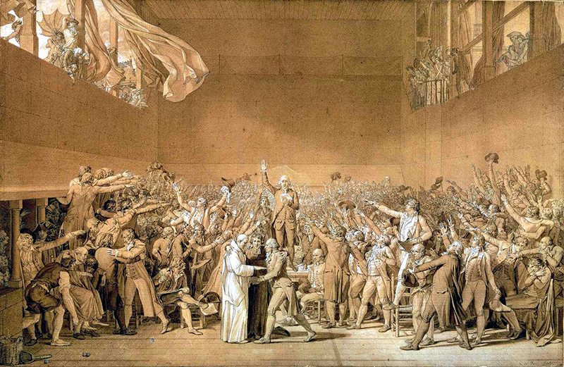 Jacques-Louis David, Le Serment du Jeu de Paume, 1791.