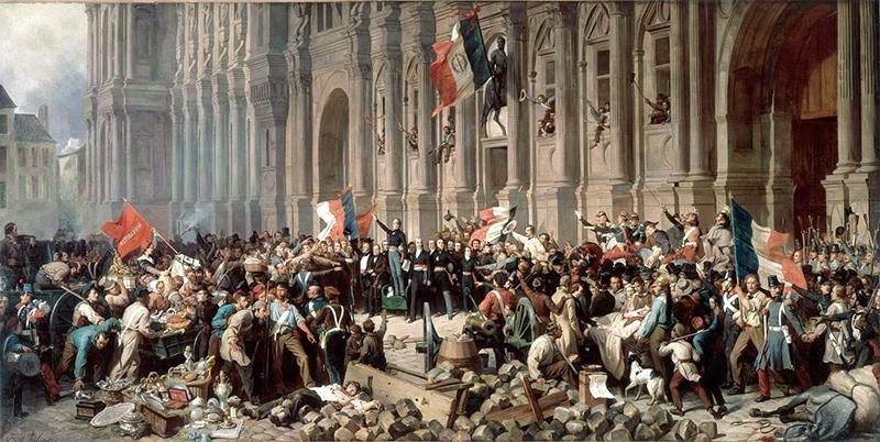 Henri Félix Emmanuel Philippoteaux, Lamartine devant l'Hôtel de Ville de Paris le 25 février 1848 refuse le drapeau rouge, 1848, © Musée Carnavalet, Paris