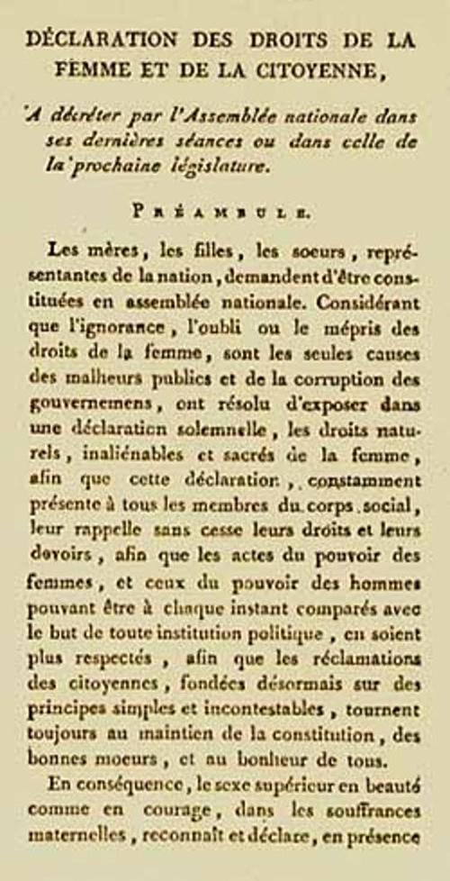 Déclaration des droits de la femme et de la citoyenne, 1791, © Wikipédia
