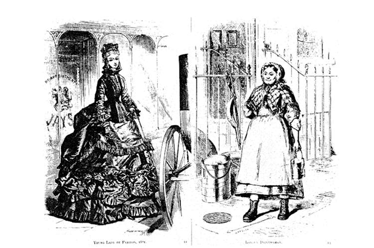 Gravure anglaise de 1871 illustrant les conditions de vie des bourgeoises et des femmes du peuple