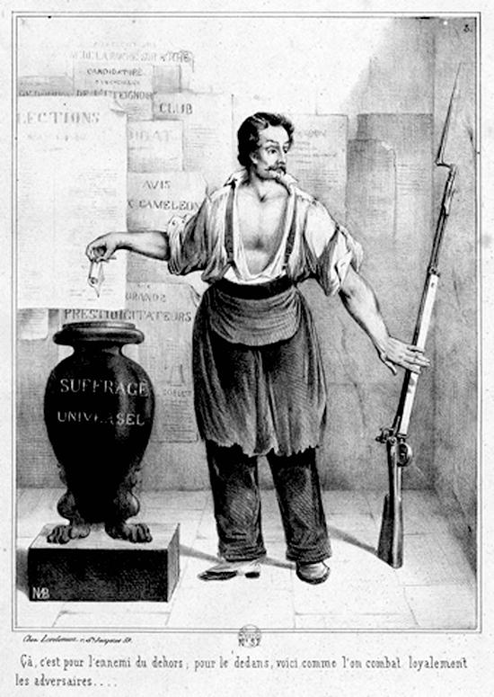 Gravure de Bosredon, Le Vote ou le fusil, 1848, © Cliché Bibliothèque Nationale de France