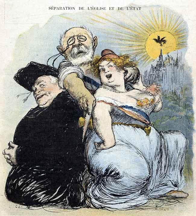 Caricature de Charles Léandre dans Le Rire, représentant le ministre de l'Instruction publique séparant l'Église et l'État en 1905.
