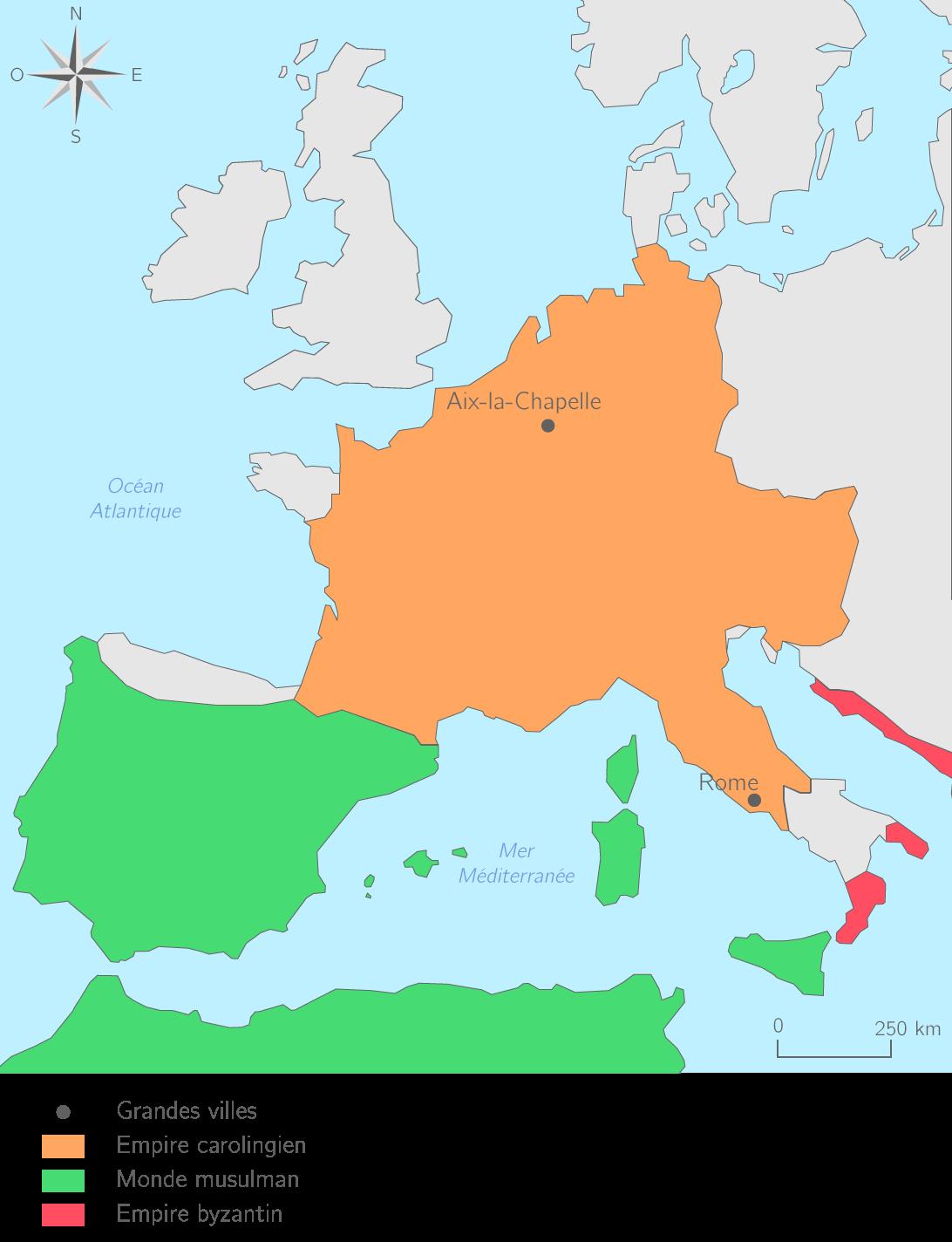 L'Empire carolingien à la mort de Charlemagne en 814
