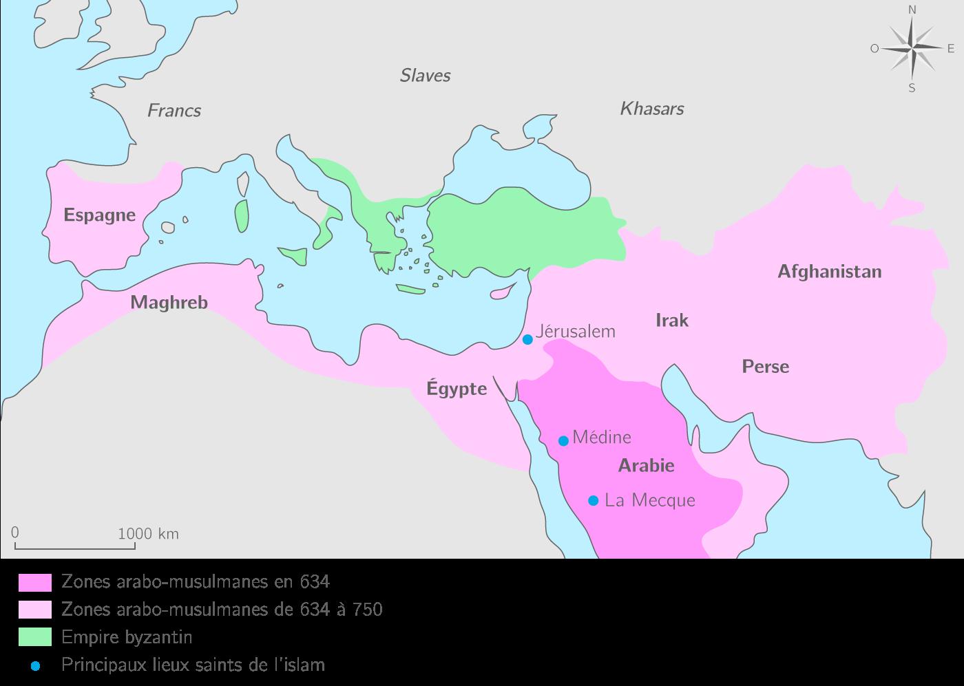 Les conquêtes des arabo-musulmans de 634 à 750