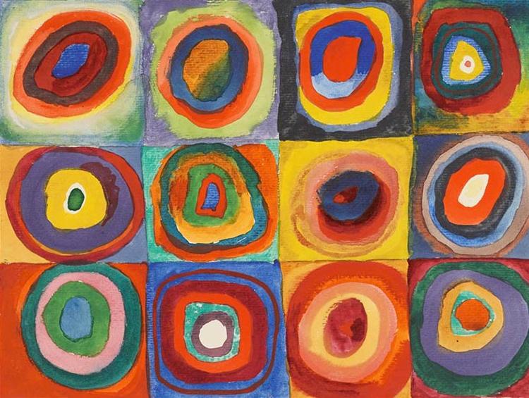 Kandinsky, Carrés et cercles concentriques, 1913