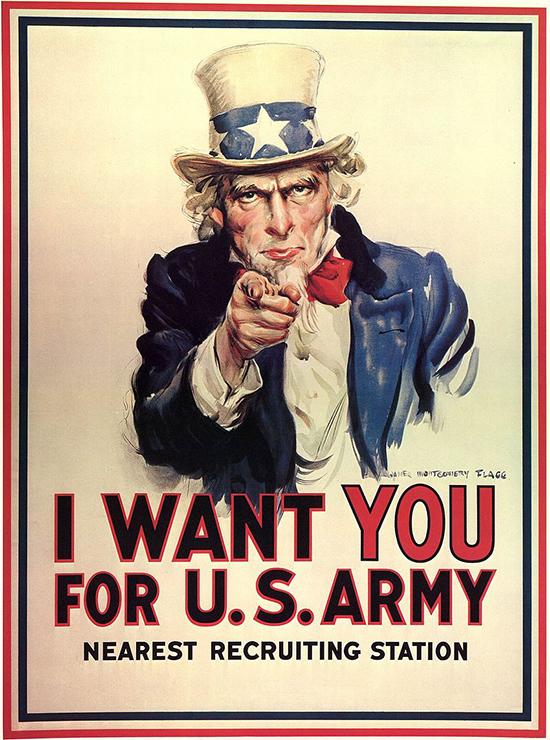 """Affiche de propagande """"L'Oncle Sam"""", James Montgomery Flagg, Première Guerre mondiale"""