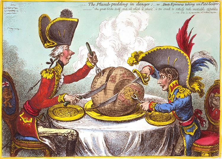 Dessin de presse représentant Pitt et Napoléon, James Gillray, XVIIIe siècle