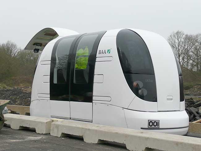 Un PRA (Personal rapid transit), véhicule individuel circulant sur les routes aménagées pour sa circulation