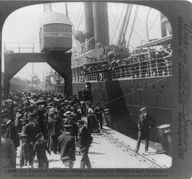Des migrants suédois en partance pour les États-Unis en 1905