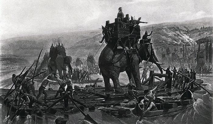 Hannibal traversant le Rhône à la hauteur de Caderousse