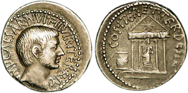Pièce de monnaie représentant Octave Auguste et au revers le temple du divin Jules César