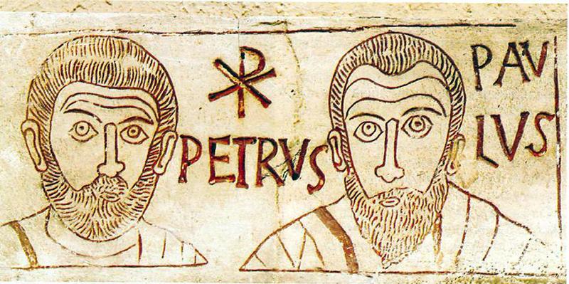 Pierre et Paul, gravure sur une pierre tombale en marbre, IVe siècle, musée du Vatican