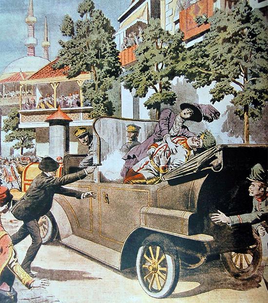 L'assassinat de François-Ferdinand de Habsbourg le 28 juin 1914 illustré par le quotidien français Le Petit Journal