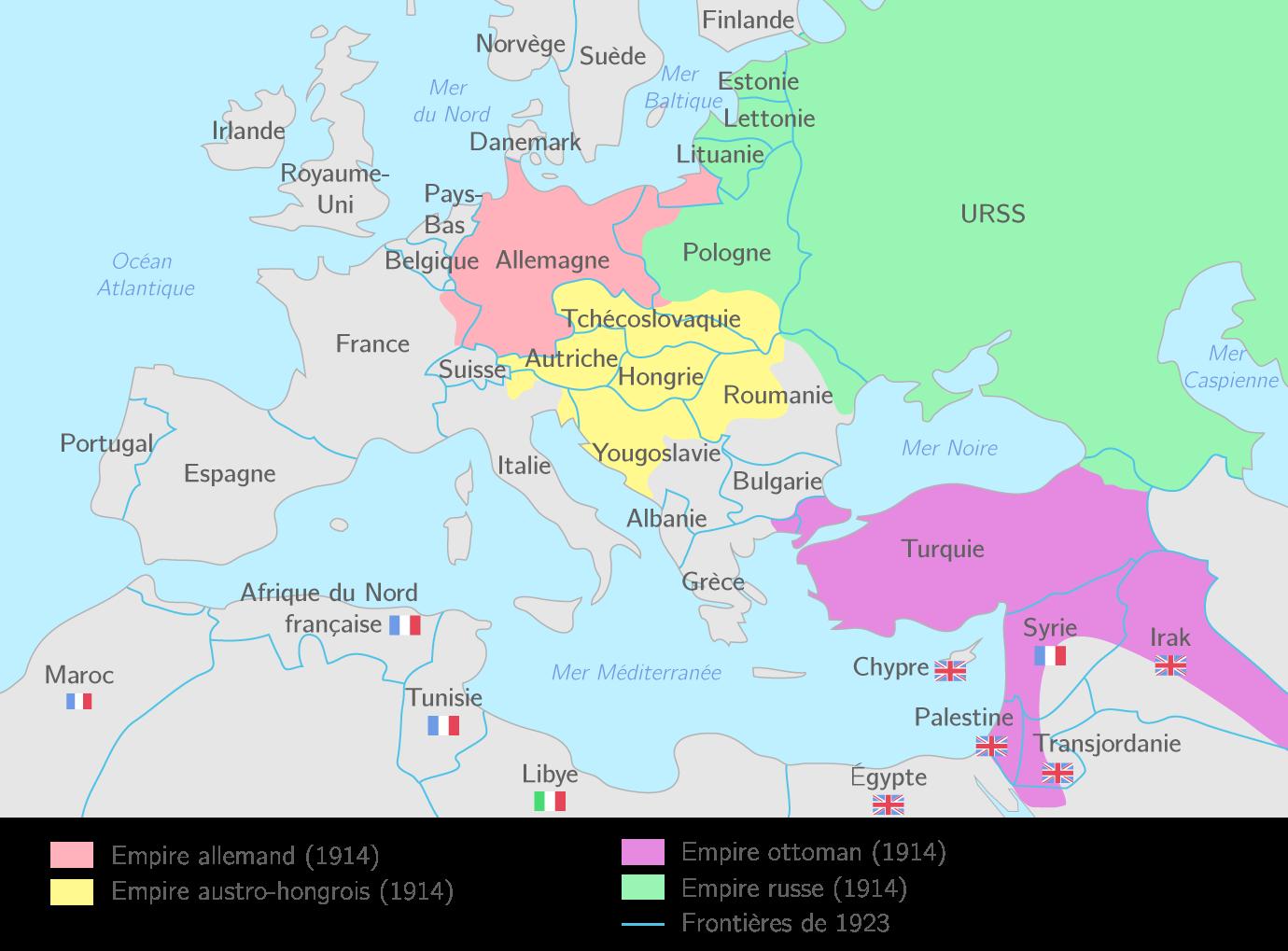Les nouvelles frontières de l'Europe en 1918