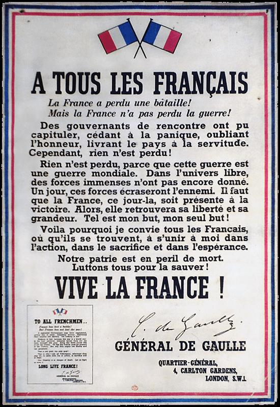 L'appel du 18 juin du général De Gaulle