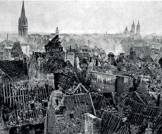 La ville de Caen en 1944