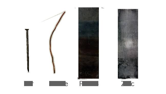 Échantillons de fer, de cuivre, de plomb et de zinc