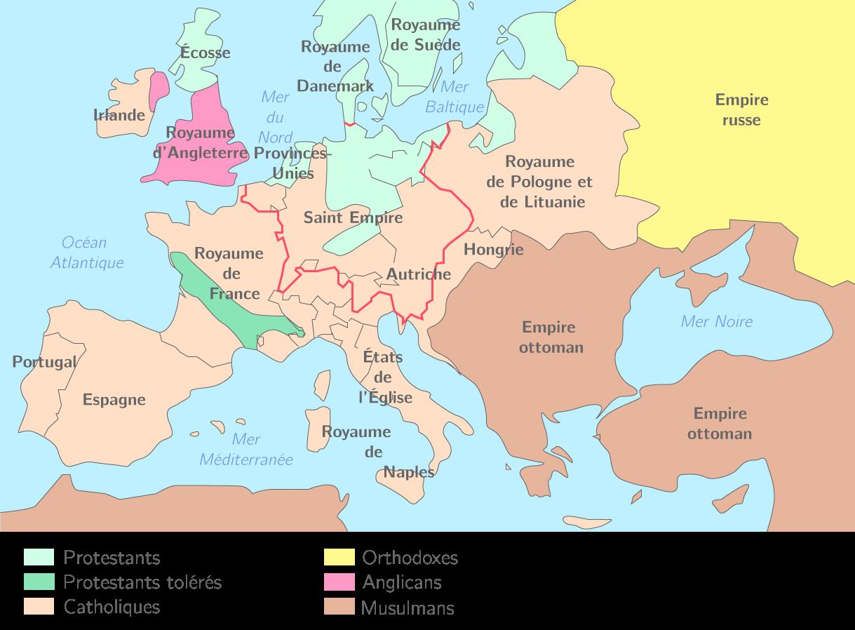 Les divisions religieuses en Europe au XVIe siècle