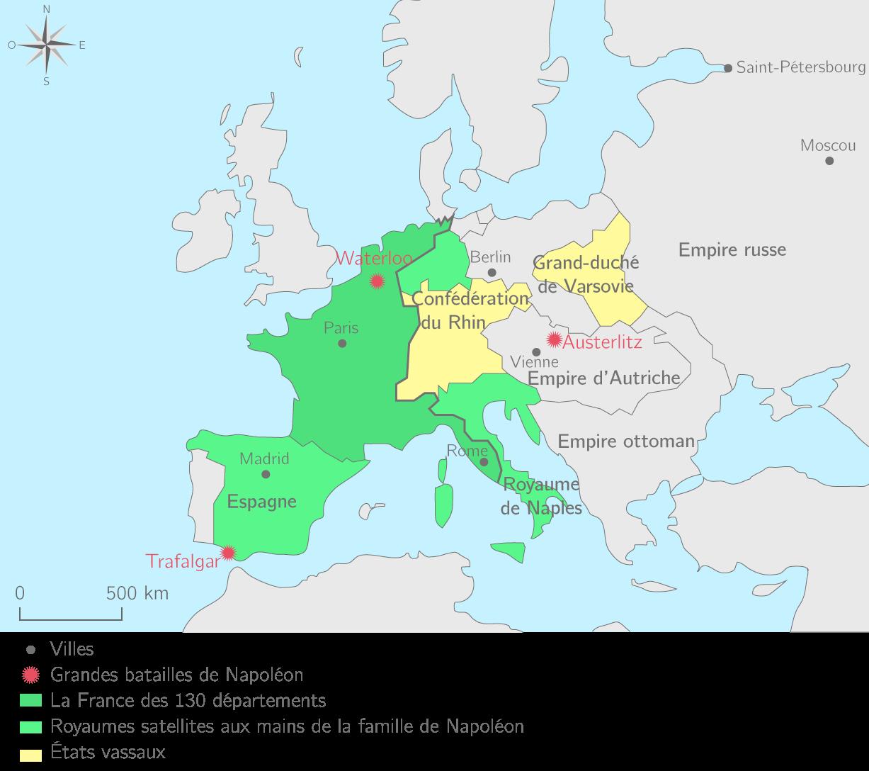 L'Europe transformée par les conquêtes révolutionnaires et impériales en 1811