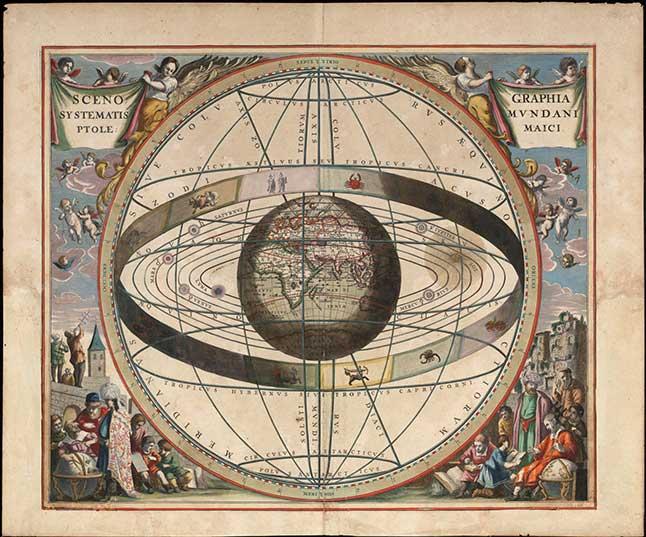 reproduction du système géocentrique de Ptolémée