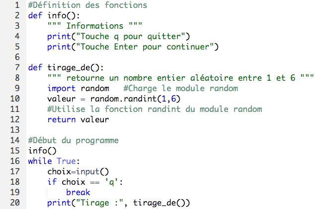 Exemple des fonctions et procédures en Python