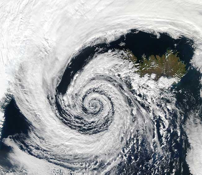 Image satellite d'un cyclone tropical