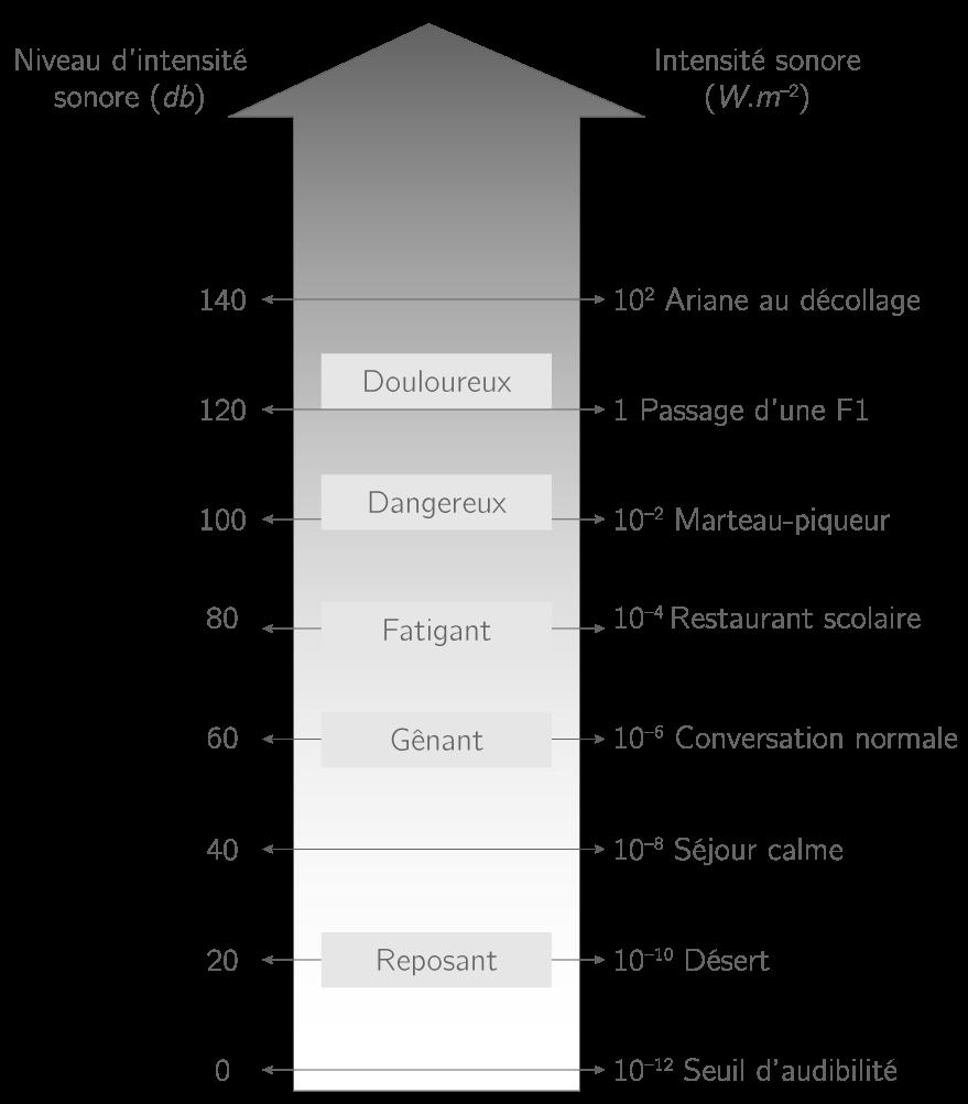 Échelle des intensités et niveaux sonores