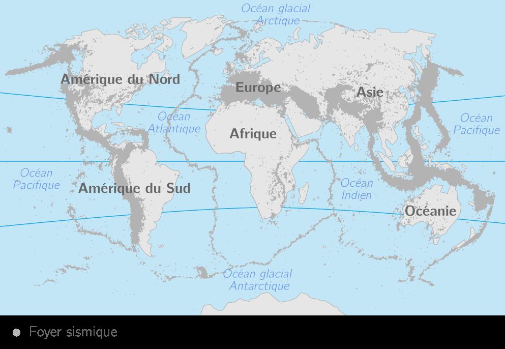Répartition des séismes à la surface de la Terre