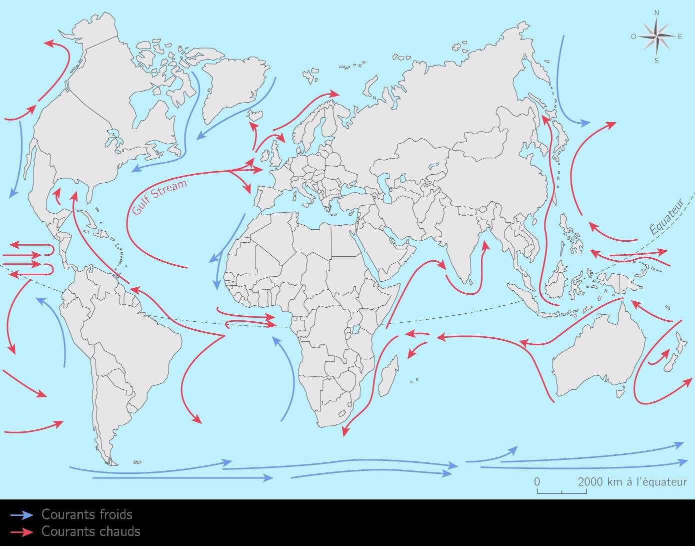 Les principaux courants marins