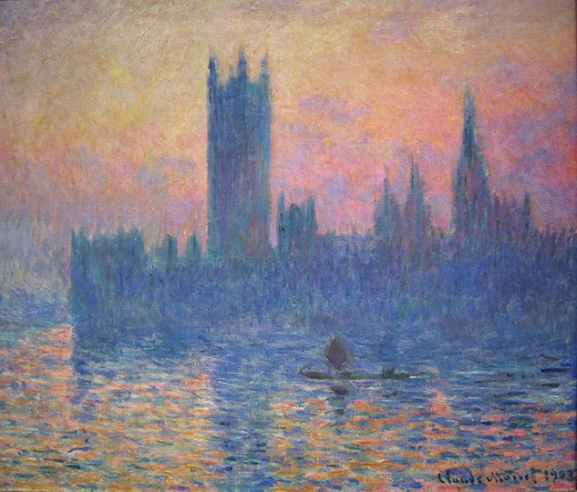 """Le Parlement de Londres, soleil couchant"", Claude Monet"