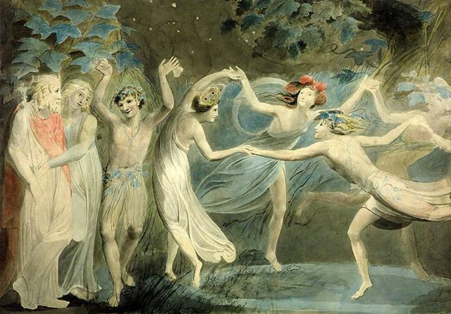 """""""Obéron, Titiana et Puck dansant avec les fées"""", WIlliam Blake"""