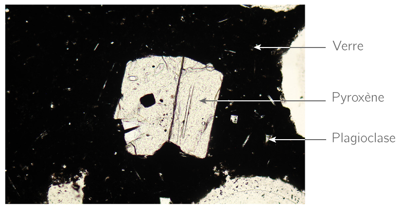 Observation au microscope polarisant d'une lame mince de basalte