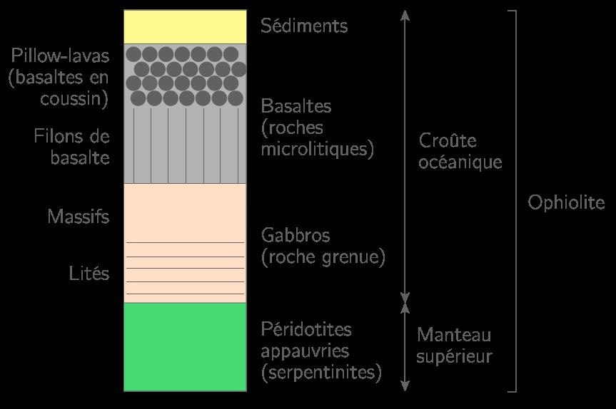 Structure d'une ophiolite