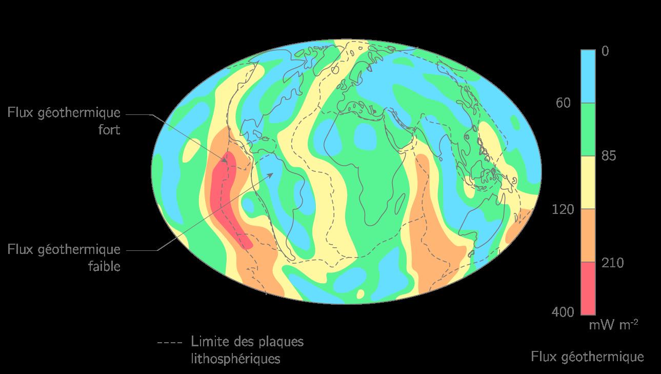 Les variations du flux géothermique sur la Terre