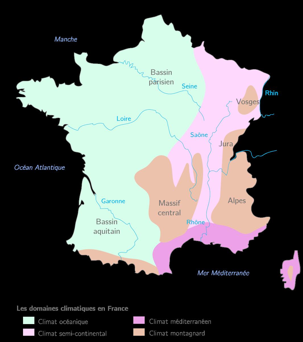 Les domaines bioclimatiques en France